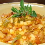 beans and samp cooked in melon